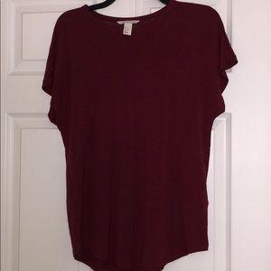 H&M basic maroon shirt sleeve shirt